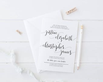 Black and White Wedding Invitation, Printable Digital File or Professionally Printed, Delightful Suite, Wedding Invites, Calligraphy