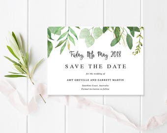 Wedding Save the Date, Leafy Tropical Invitation, Professionally Printed or Printable File, Watercolour, Garden Rustic, Amy Suite