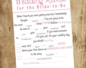 Bridal Shower Game - Advice for the Bride - Mad Libs - Advice for the Bride and Groom - Activity - Bridal Shower Ideas - Wedding Shower