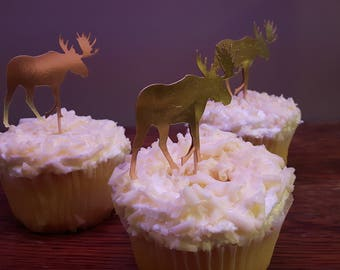 Canada Day Red & Gold Moose Cupcake Toppers, Cupcake, Cake Toppers, Canada Day, Birthday, Party, Decorations, party, Glitter