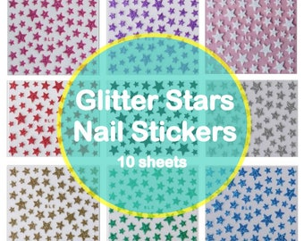 10 SHEETS Glitter Stars Nail Stickers Sparkly Nail Art Decals - FREE SHIPPING