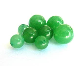 Pearl Ø 10 mm PCH080 green aventurine has individually gemstone gemstone semi precious