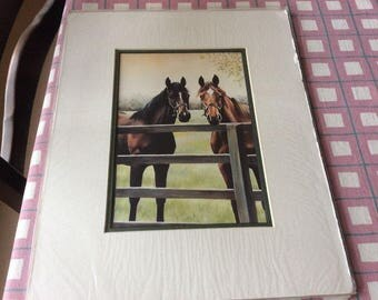2 horses standing by fence print