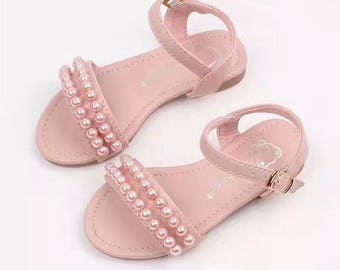 Pink Girls Shoes sandals Pearls
