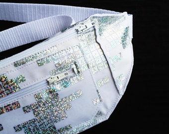 Holographic White Tetris Festival Burning Man Fanny Pack Bum Bag for Men or Women