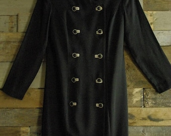 On Sale Vintage Wiggle Double Button Coat Dress Made in U.S.A. By Danny & Nicole-New York Size 6P Free Us Standard Shipping