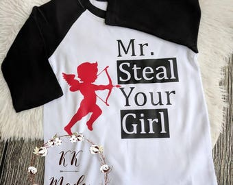 Boys Cupid shirt, Valentine's day shirt, toddler boy Valentine shirt, Mr steal your girl shirt, funny Valentine's day shirt, Cupid valentine