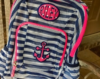 Monogrammed Backpack | Anchor | Anchor Backpack | Girls Backpack | Mesh Backpack | Monogrammed Mesh Backpack | Nautical Bookbag