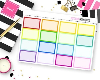 Custom Color Half or Quarter Box Stickers for Erin Condren Life Planner, Plum Paper or Mambi Happy Planners