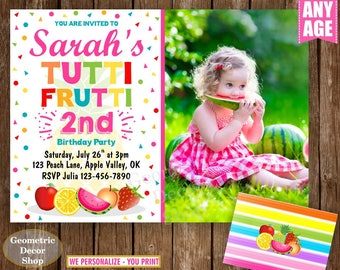 Two-tti Frutti Birthday Invitation / Twotti Frutti Party / Tutti Fruity / Tutti Fruitti Invitation / Tutti Frutti Party photo photograph TF2