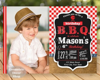BBQ Red Plaid Birthday Party Invitation Invite Rustic 1st Birthday Boy Girl Neutral Burlap denim barbecue barbeque Photo Photograph BDBBQ2