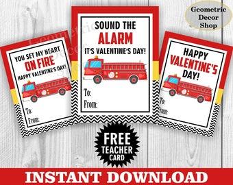 Instant Download / Fire truck / Valentine Card / Fireman Valentines Card / Valentine's Day / Dog / Red / Black / Tags teacher Kids VCard83