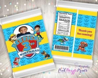 Paw Patrol Custom Potato Chip Bag- Party Favor Bag- Digital File ONLY