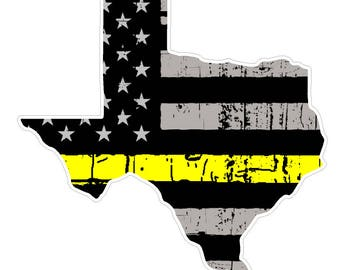 Texas State (E2) Thin Yellow Line Dispatch Vinyl Decal Sticker Car/Truck Laptop/Netbook Window