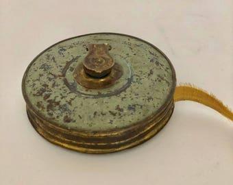Antique Hand Crank Measuring Tape, Cloth Measuring Tape, Patented 1898, Antique Tool