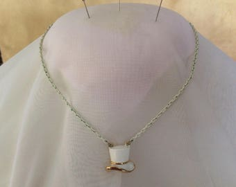 vintage MONET top hat necklace/choker-white enamel-gold tone-verdigris