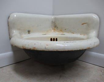 Antique Porcelain Hanging Corner Sink Utility Tub Industrial