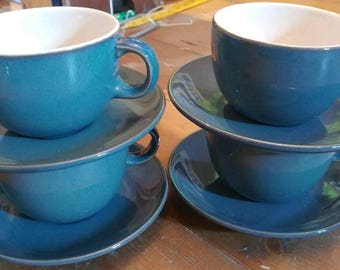 4 Vintage Boots Coniston Blue and White Tea Cups and Saucers Set England