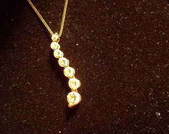 14k yellow gold journey necklace .60ct lab-created diamonds