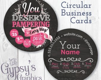 Perfectly Posh Business Cards, Chalkboard,Business Cards, Circular Calling Cards,Direct Marketing,Calling Cards,Business Material