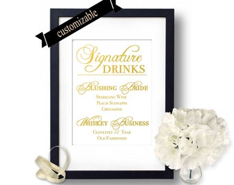 Personalized Wedding drink sign, Custom Wedding Signs, Wedding Signature Drinks, Wedding bar signs idea, Personalized Drinks for weddings