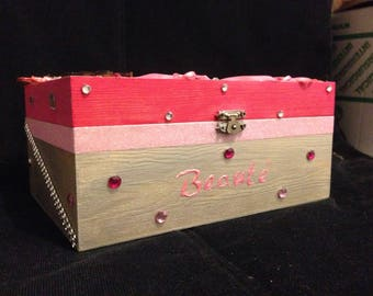 Box, jewelry or makeup with hand decorated window box.