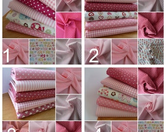 Pink Fabric Patchwork Squares,  Charm Pack, 100% Cotton 5 inch (12.7 cm) squares. For Quilting Patchwork Crafts & Scrapbooking