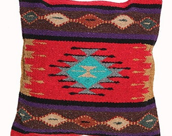 Native American Geometric Accent Pillow // Red