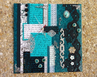 Square wall clock, black, turquoise and silver