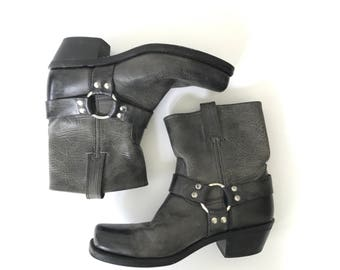 Women's Size 9 Grey Leather Ankle Boots, Chunky Heel Boots, Frye Harness Boots