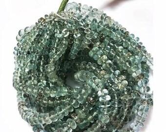 ON SALE 50% Moss Aquamarine Beads/ Rondelle Beads/ Aquamarine Rondelles, 5mm To 9mm Beads, 7 Inch Half  Strand, 47 Pieces
