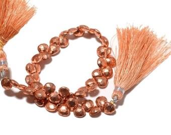 ON SALE 50% Copper Pyrite Briolette Beads, Coated Pyrite Beads, Faceted Heart Beads, 6x6mm Beads, 8 Inch Strand, SKU-M89