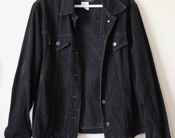 Women's Vintage 90's Black Denim Jacket Adult Medium