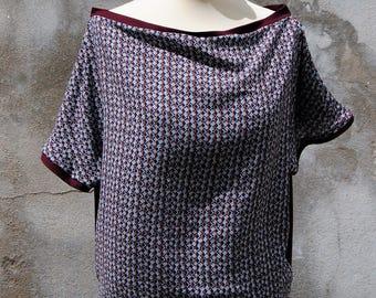 T-Shirt Testa Testa reversible Burgundy jersey and geometric patterns