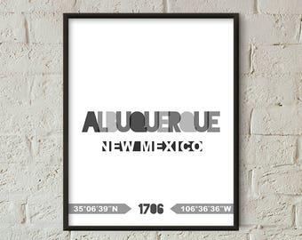 Albuquerque Print, Albuquerque Printable, Albuquerque Poster, Albuquerque Wall Art, Albuquerque Coordinates, Albuquerque Minimalist (W0237)
