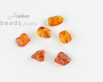 6 units of amber, Natural Baltic Amber Beads For Jewelry Making // MO047