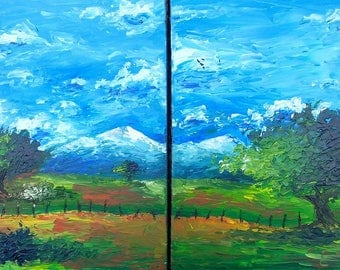 "Painting ""snowy mountains"" Diptych - Sabrina RIGGIO"