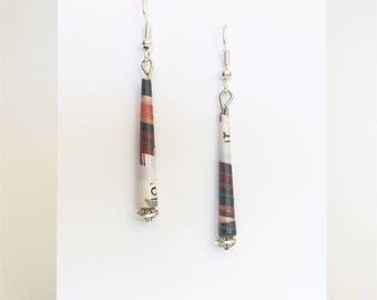 Rolled paper bead - earrings ethnic simple - support argenté