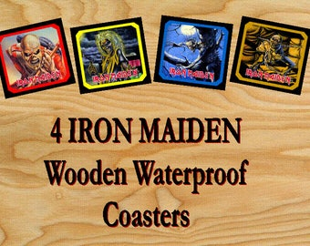 IRON MAIDEN 4 Wooden Waterproof Drink Coasters 9 X 9 cm album covers themes