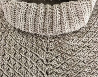 Ladies Crochet Pull-Over Cowl Poncho