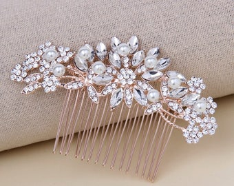 Bridal Hair Comb Rose Gold Crystal Wedding Hair Comb Bridal Hairpiece Wedding Hair Jewelry Accessories for Bride Bridesmaids