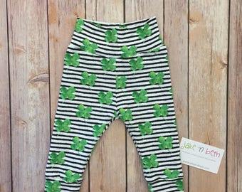 St Patrick's Day baby pants, toddler pants, shamrocks, clovers, Irish baby
