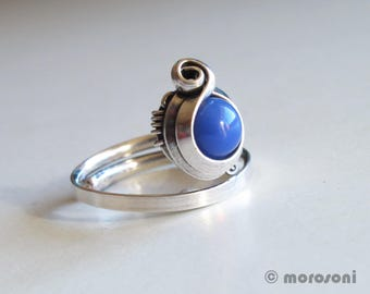 Ethnic ring - cyan blue - adjustable - antique silver plating