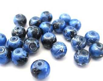 14 glass beads painted dark blue shiny speckled and drawbench 6mm (C-28)