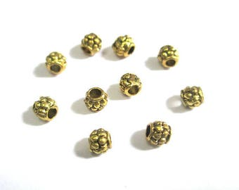 20 metal beads spacers gold color aged 4mm