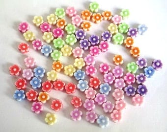 90 acrylic beads flower mix color 6 x 4 mm
