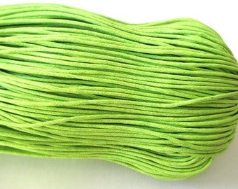 5 Metters 1.5 mm lime green waxed cotton thread