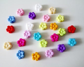 24 acrylic beads flower mix color 8.5x9x4 mm