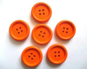 6 orange 23mm with 4 holes wood buttons
