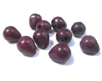 10 purple 10x8mm howlite drops beads